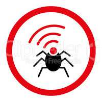 Radio spy bug flat intensive red and black colors rounded glyph icon
