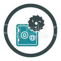 Hacking theft flat soft blue colors rounded glyph icon