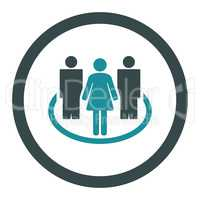 Society flat soft blue colors rounded glyph icon