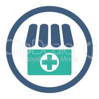 Drugstore flat cobalt and cyan colors rounded glyph icon