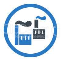 Industry flat smooth blue colors rounded glyph icon