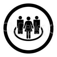 Society flat black color rounded glyph icon