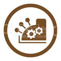 Cash register flat brown color rounded glyph icon