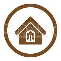 Home flat brown color rounded glyph icon