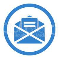 Open mail flat cobalt color rounded glyph icon