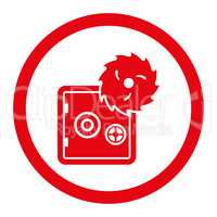 Hacking theft flat red color rounded glyph icon