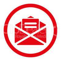 Open mail flat red color rounded glyph icon