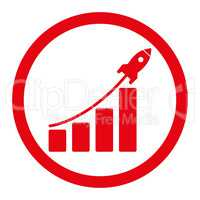 Startup sales flat red color rounded glyph icon