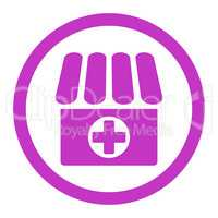 Drugstore flat violet color rounded glyph icon