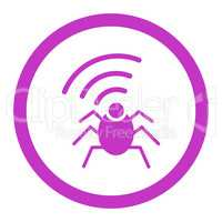 Radio spy bug flat violet color rounded glyph icon