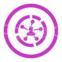 Relations diagram flat violet color rounded glyph icon