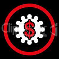 Payment options flat red and white colors rounded vector icon
