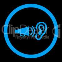 Advertisement flat blue color rounded vector icon