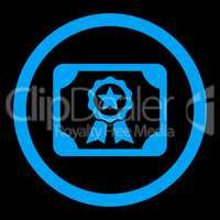 Certificate flat blue color rounded vector icon