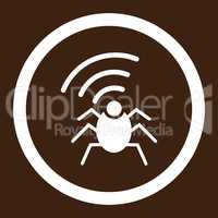 Radio spy bug flat white color rounded vector icon