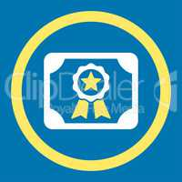 Certificate flat yellow and white colors rounded vector icon