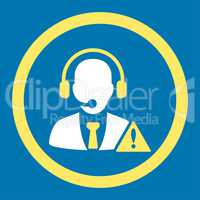 Emergency service flat yellow and white colors rounded vector icon