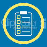Examination flat yellow and white colors rounded vector icon