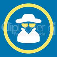 Spy flat yellow and white colors rounded vector icon