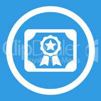 Certificate flat white color rounded vector icon