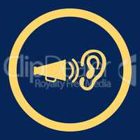 Advertisement flat yellow color rounded vector icon