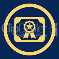 Certificate flat yellow color rounded vector icon