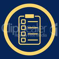 Examination flat yellow color rounded vector icon