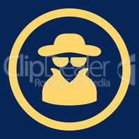 Spy flat yellow color rounded vector icon
