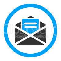 Open mail flat blue and gray colors rounded vector icon