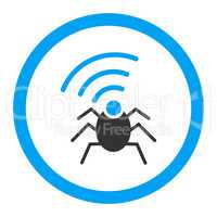 Radio spy bug flat blue and gray colors rounded vector icon