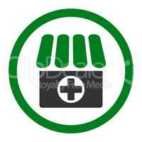 Drugstore flat green and gray colors rounded vector icon