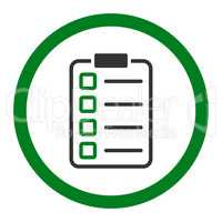 Examination flat green and gray colors rounded vector icon