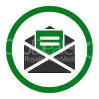 Open mail flat green and gray colors rounded vector icon