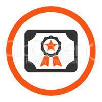 Certificate flat orange and gray colors rounded vector icon