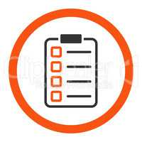 Examination flat orange and gray colors rounded vector icon