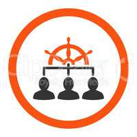 Management flat orange and gray colors rounded vector icon