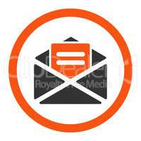 Open mail flat orange and gray colors rounded vector icon