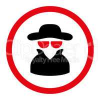 Spy flat intensive red and black colors rounded vector icon