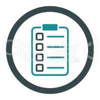 Examination flat soft blue colors rounded vector icon