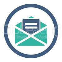 Open mail flat cobalt and cyan colors rounded vector icon
