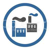 Industry flat cobalt and gray colors rounded vector icon