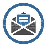 Open mail flat cobalt and gray colors rounded vector icon