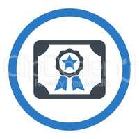 Certificate flat smooth blue colors rounded vector icon