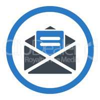 Open mail flat smooth blue colors rounded vector icon