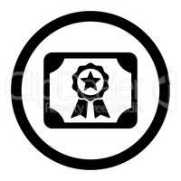 Certificate flat black color rounded vector icon