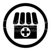 Drugstore flat black color rounded vector icon