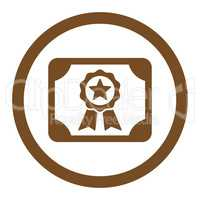 Certificate flat brown color rounded vector icon