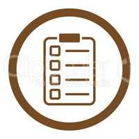 Examination flat brown color rounded vector icon