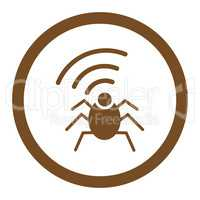 Radio spy bug flat brown color rounded vector icon