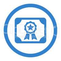 Certificate flat cobalt color rounded vector icon